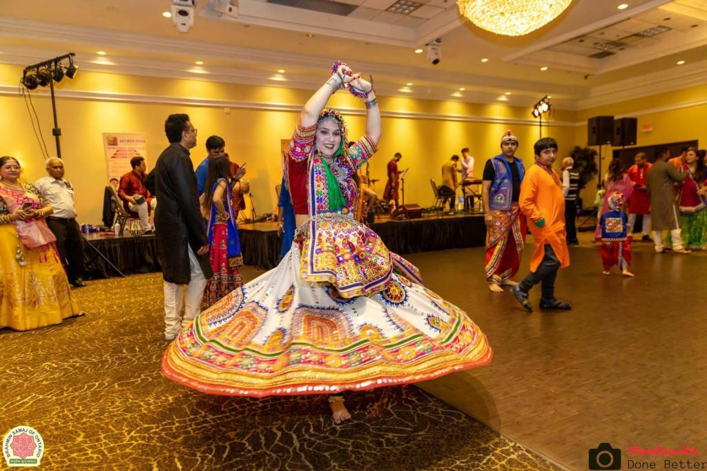 In Action Performing Garba, Indian Folk Dance Form