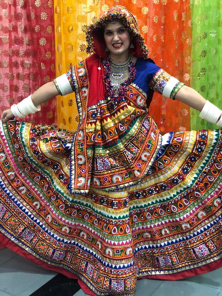 "In Gujarati traditional attire ""Chaniya Choli"" completely hand-crafted"