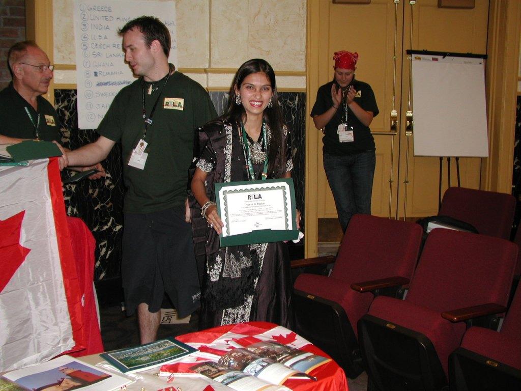 Posing with RYLA Certificate, 2007 International RYLA, Salt Lake City, USA