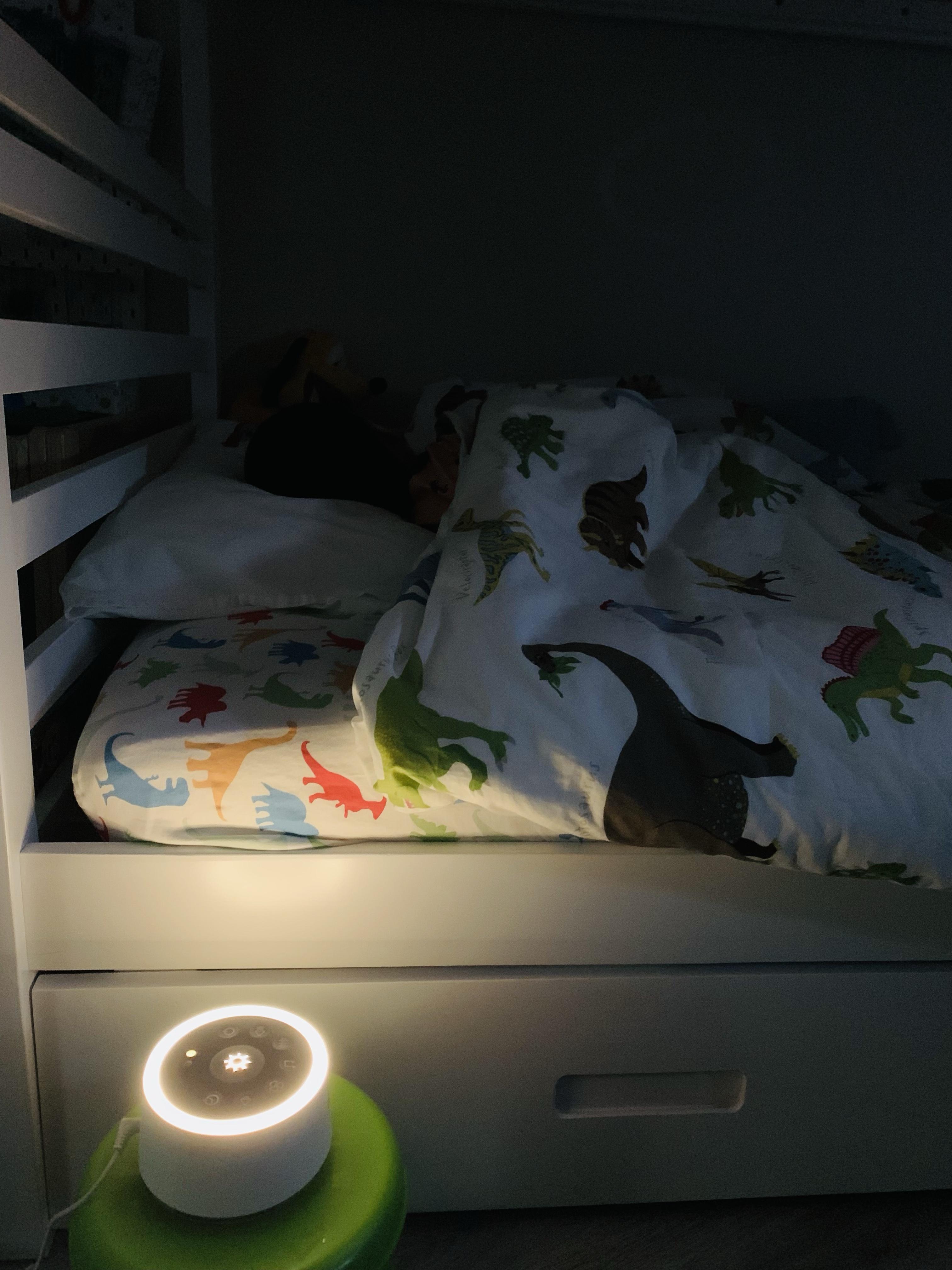 Aarav sleeping with Dreamegg's White Noise Machine